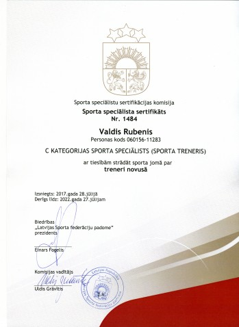Sertificēts novusa treneris Valdis Rubenis